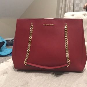 Red Michael Kors Ellis Large Tote [Leather]